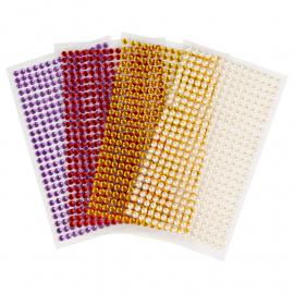 Стрази та перлини самоклеючі асорті кольорів 1500 штук діаметр 5 мм Rosa Talent, 985030