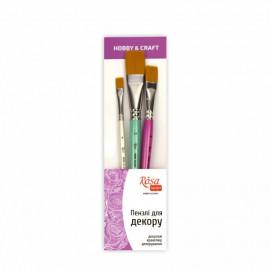 Набір пензлів для декору синтетика плоска 3 штуки № 6, 16, 24 Hobby craft Rosa Talent, 708174