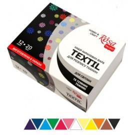 Набір акрилових фарб для розпису тканин Rosa Talent 12 кольорів по 20 мл, 134122