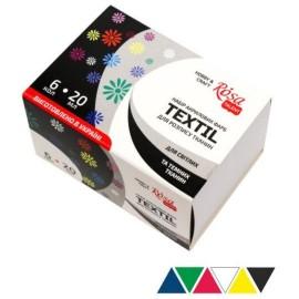 Набір акрилових фарб для розпису тканин 6 кольорів по 20 мл Rosa Talent, 134620