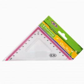 Косинець 10 см 90*/45*/45* прозорий пластиковий з рожевою смужкою Zibi ZB.5620-10, 562010