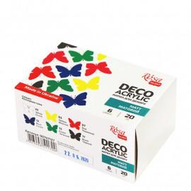 Набір акрилових фарб для декору матових 6 кольорів по 20 мл Rosa Talent, 90747127