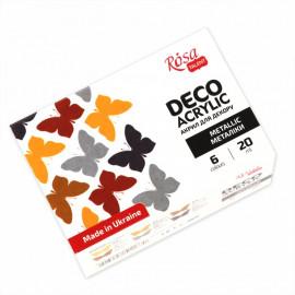 Набір акрилових фарб для декору металіки 6 кольорів по 20 мл Rosa Talent, 90747259
