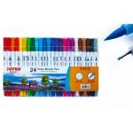 Фломастери двосторонні пензлик лінер 24 кольори Joyko CLP-07, 8048817