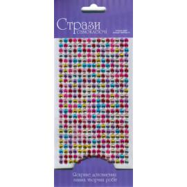 Стрази самоклеючі мікс кольорів 375 штук діаметр 5 мм Rosa Talent, 46311