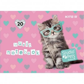 Зошит для нот А5 20 аркушів Kite Studio Pets SP21-405, 48472
