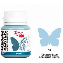 Акрил для декору блакитна кантрі матовий 20 мл Rosa Talent, 20045