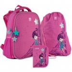 Рюкзак шкільний каркасний з пеналом сумкою для взуття Kite French dreams SET_K21-531M-5, 48349