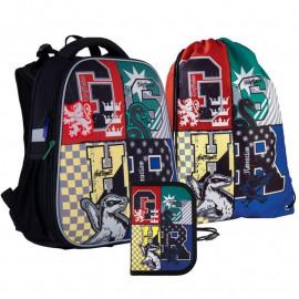 Рюкзак шкільний каркасний з пеналом сумкою для взуття Kite Harry Potter SET_HP21-531M, 48341