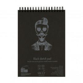 Альбом для малювання Authentic Black А5 21х15 см 165 г/м2 20 аркушів чорний папір Smiltainis, 587996