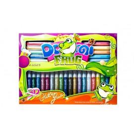 Клей-фарби з блискітками оформлювальні 28 кольорів по10,5 мл DOMI FROG GG-009 Pasco, 303130