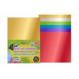 Картон А4 кольоровий металізований 10 аркушів 7 кольорів односторонній Kidis 7398, 140148