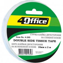 Стрічка клейка двостороння спінена 18 мм х 2 метри 4Office 4-395, 1012346