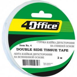 Стрічка клейка двостороння спінена 12 мм х 2 метри 4Office 4-394, 1014319