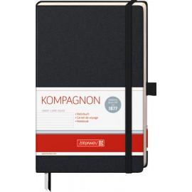 Блокнот Brunnen Kompagnon А5 в лінію 192 аркуші чорний на гумці, 105522705