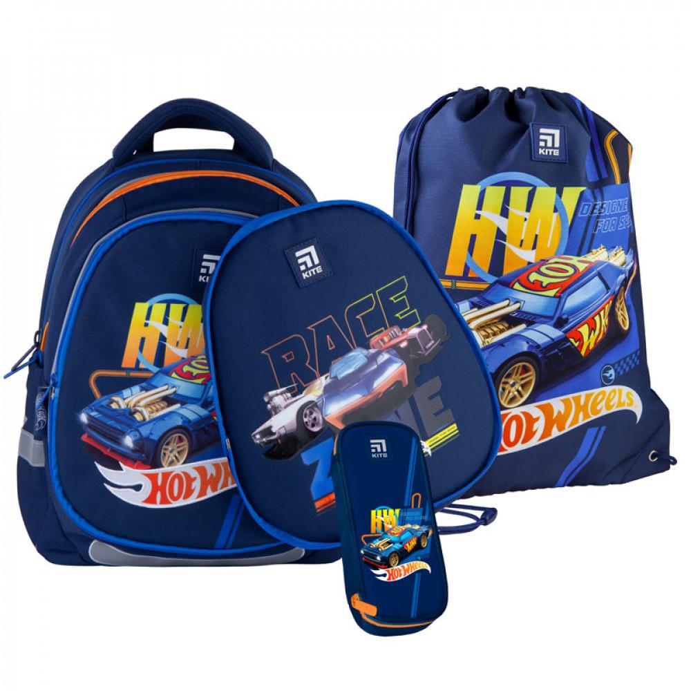 Рюкзак шкільний з пеналом сумкою для взуття Kite Hot Wheels SET_HW21-700М(2р),  48378