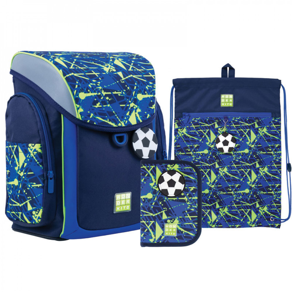Рюкзак шкільний з пеналом та сумкою для взуття Wonder Kite Goal SET_WK21-583S-2, 48284