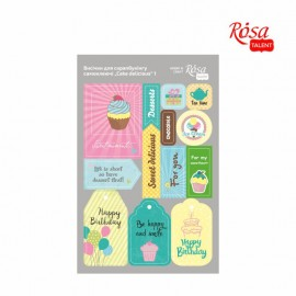 Набір вирубок для скрапу самоклеящихся Cake delicious 1 картон 12,8х20 см ROSA Talant, 9406092