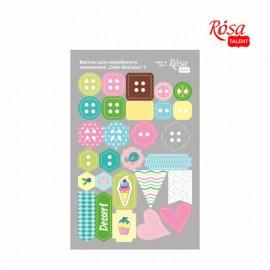 Набір вирубок для скрапу самоклеящихся Cake delicious 3 картон 12,8х20 см ROSA Talant, 9406094