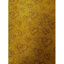 Фоаміран А4 20x30 см з глітером принт сердечка фіолетові на золоті  ООПТ 10515, 161310
