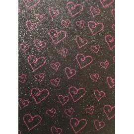 Фоаміран А4 20x30 см з глітером принт сердечка фіолетові на чорному ООПТ 10518, 161563