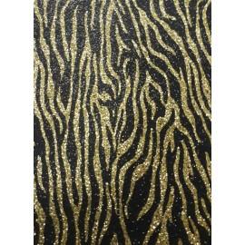 Фоаміран А4 20x30 см з глітером принт тигровий золото на чорному ООПТ 10513, 9059971