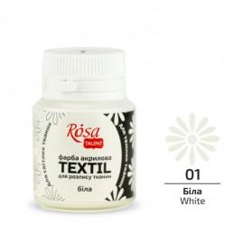 Фарба акрилова для розпису тканин біла 20 мл Rosa Talent, 263401