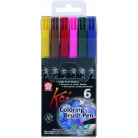 Набір маркерів Koi Coloring Brush 6 кольорів Sakura XBR6B1, 316799