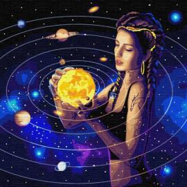 Картина за номерами Підкорюючи всесвіт з металевою фарбою 50х50 см Ідейка КНО9539, 322702