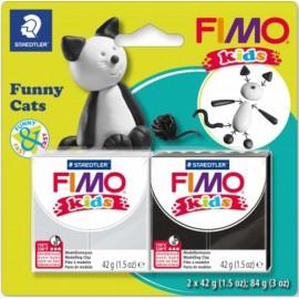 Набір полімерної глини Fimo Kids Кумедний котик 2 кольори по 42 грама Staedtler, 803510