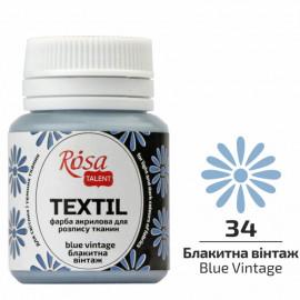 Фарба акрилова для розпису тканин блакитна вінтаж 20 мл Rosa Talent, 263434