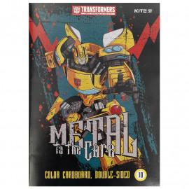 Картон А4 кольоровий двосторонній 10 аркушів Kite Transformers TF21-255, 47178