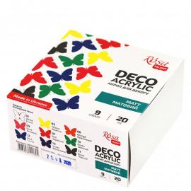 Набір акрилових фарб для декору матових 9 кольорів по 20 мл Rosa Talent, 90747128