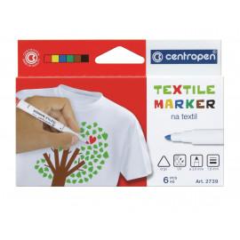 Набір маркерів для текстилю 6 кольорів Centropen 2739/6, 35477