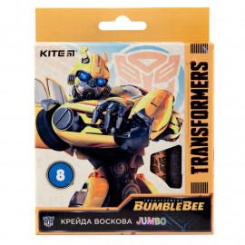 Олівці воскові Jumbo Kite Transformers BumbleBee Movie 8 кольорів TF19-076, 40267