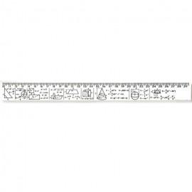 Лінійка з формулами ГЕОМЕТРІЯ 30 см пластикова біла Атлас AS-0611, 900274