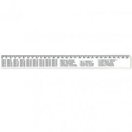 Лінійка з табличкою множення 30 см пластикова біла Атлас AS-0612, 900250