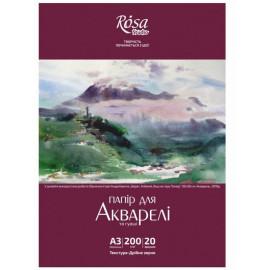 Папір для акварелі А3 Пейзаж Rosa Studio білий дрібне зерно 200 г/м2, 169153006
