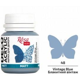 Акрил для декору блакитна вінтаж матовий 20 мл Rosa Talent, 20048