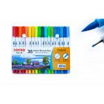 Фломастери двосторонні пензлик лінер 36 кольорів Joyko CLP-39, 713142