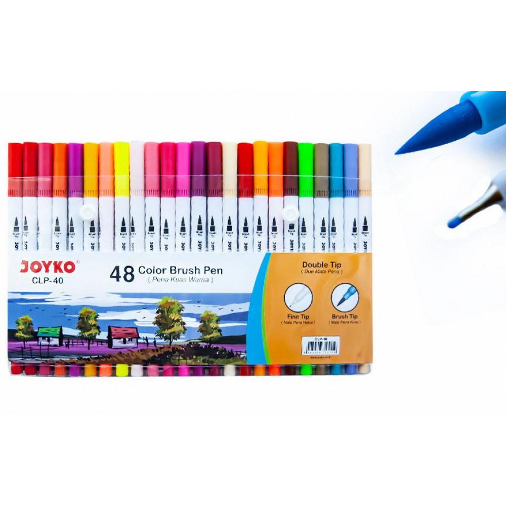 Фломастери двосторонні пензлик/лінер 48 кольорів Joyko CLP-40, 713159