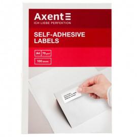 Етикетки з клейким шаром Axent 70х29,7 мм 30 штук на аркуші A4, 2476-A, 28357