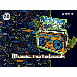 Зошит для нот А5 20 аркушів Kite Make some noise K21-405, 48473