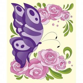 Набір акриловий розпис по контуру на полотні 25х30 см Метелик у трояндах Ідейка, 315773