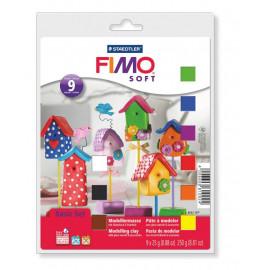 Набір полімерної глини Fimo Soft 9 кольорів по 25 грам лак стек робоча поверхня Staedtler, 802310