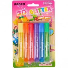 Клей-фарби з блискітками color 3D 6 кольорів по 10 мл Pasco F-019-06, 330111