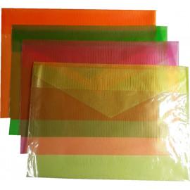 Папка конверт А4+ напівпрозора колір асорті ПВХ 150 мкм Tascom 1051-ПК, 862174